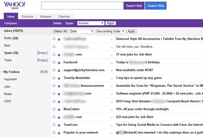 چک کردن ایمیل ها در mail.yahoo.com