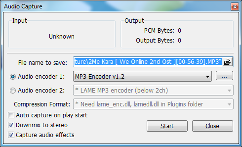 KMPlayer Audio capture