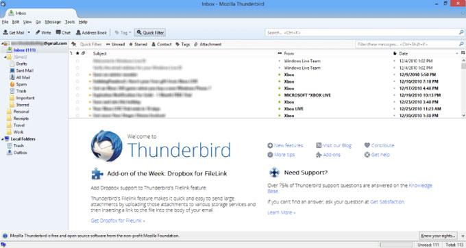 چک کردن ایمیل ها در نرم افزار Thunderbird
