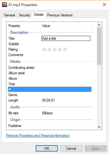 ویرایش تگ های MP3 توسط ویندوز
