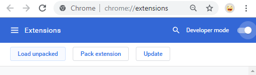 صفحه Extensions در گوگل کروم