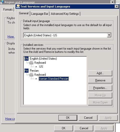 پنجره حذف و اضافه صفحه کلید به ویندوز